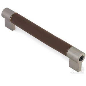 "Siro Cabinet Hardware - Soho 6 1/4"" Centers Bar Pull with Detailed End Posts in Brown/Fine Brushed Nickel"