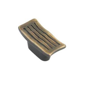 "Siro Designs - Serengeti - 5/8"" Centers Rectangular Pull in Brushed Antique Brass"