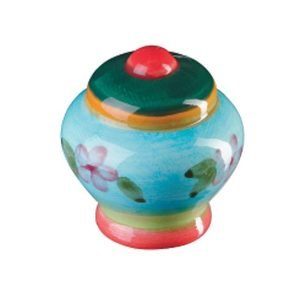 Siro Cabinet Hardware Botanico Knob Red Center with Green, Orange and Blue