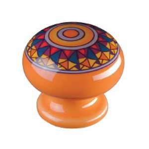 "Siro Cabinet Hardware Botanico 1 1/2"" Knob in Orange Mandela Design"