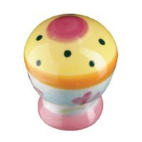 Siro Designs - Botanico - Knob Yellow with Pink Center Dots and Stripes