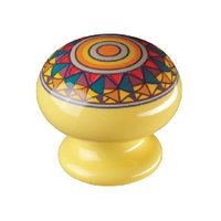 "Siro Designs - Botanico - 1 1/2"" Knob in Yellow Mandela Design"
