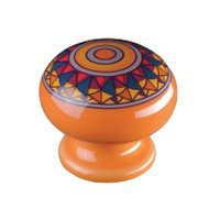 Siro Designs - Botanico - Knob in Orange Mandela Design